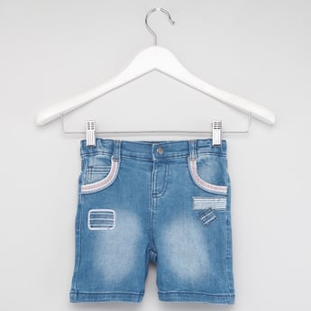 Textured Denim Shorts with Pocket Detail and Belt Loops