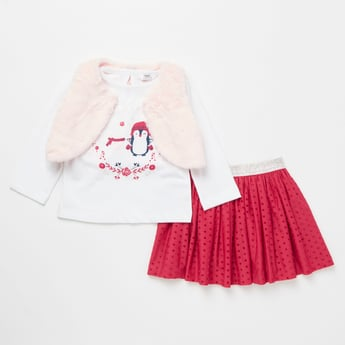 Printed T-Shirt with Skirt and Fur Detail Jacket Set