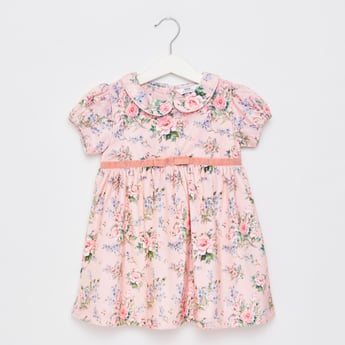 Floral Print Peter Pan Collared Dress with Short Sleeves