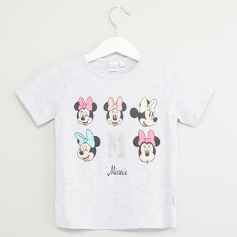 Minnie Mouse Print T-shirt with Short Sleeves