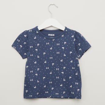 Swan Print T-shirt with Round Neck and Short Sleeves