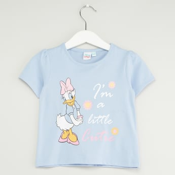 Daisy Duck Printed T-shirt with Round Neck and Short Sleeves