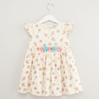 Floral Print Round Neck Dress with Cap Sleeves