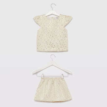 Textured Round Neck Top with Skirt