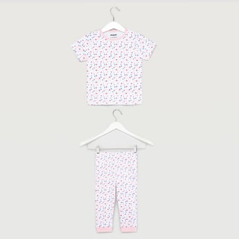 Ditsy Floral Print T-shirt and Pyjama Set