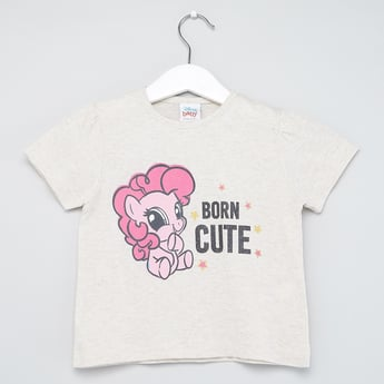 My Little Pony Print T-shirt with Round Neck and Short Sleeves