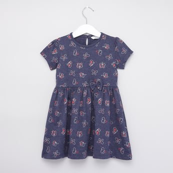 Printed A-line Dress with Short Sleeves and Keyhole Detail
