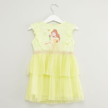 Princess Print Sleeveless Dress with Round Neck