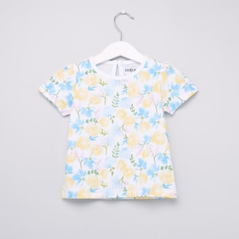 Floral Printed Round Neck T-shirt with Short Sleeves