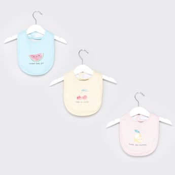Set of 3 - Fruits Printed Bib with Button Closure
