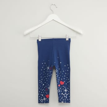 Star Print Leggings with Elasticised Waistband