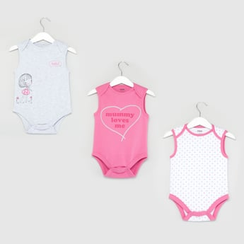 Set of 3 - Printed Sleeveless Bodysuit with Round Neck
