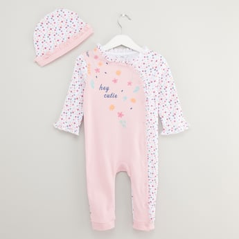 Printed Long Sleeves Sleepsuit with Cap
