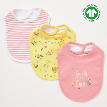 Set of 3 - Printed Bibs with Snap Button Closure
