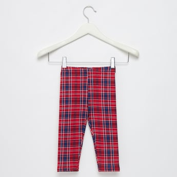 Full Length Checked Leggings with Elasticised Waistband