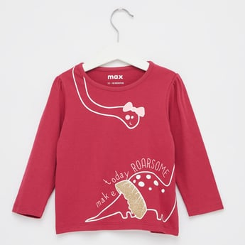 Dino Print T-shirt with Round Neck and Long Sleeves