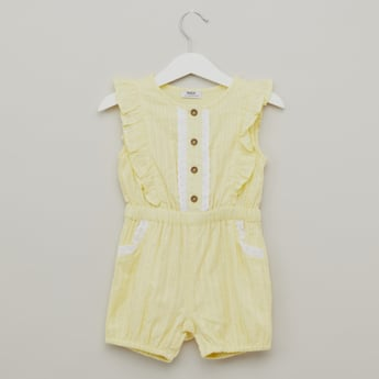 Striped Sleeveless Playsuit with Ruffle Detail
