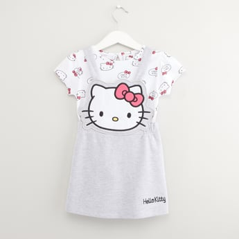 Hello KItty Print T-shirt with Pinafore