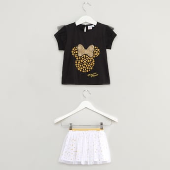 Disney Minnie Mouse Print Embellished Top with Tutu Skirt