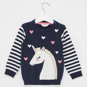 Unicorn Print Sweater with Round Neck and Long Sleeves
