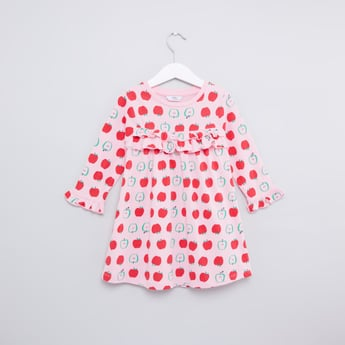 Apple Printed Dress with Long Sleeves and Ruffle Detail