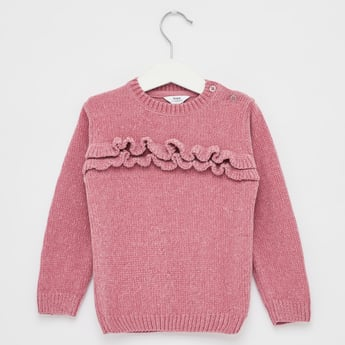Chenille Jumper with Round Neck and Long Sleeves