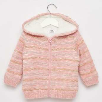 Embroidered Jacket with Long Sleeves and Fur Detail Hood