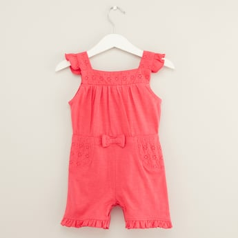 Textured Romper with Bow Applique and Eyelet Detail