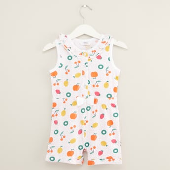 Printed Sleeveless Playsuit with Round Neck and Bow Applique Detail