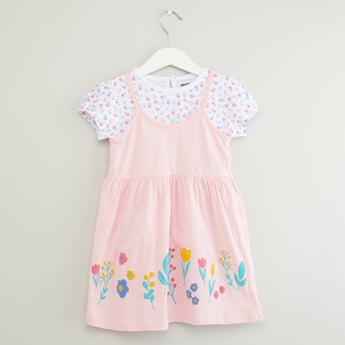 Floral Printed Round Neck T-shirt with Sleeveless Dress