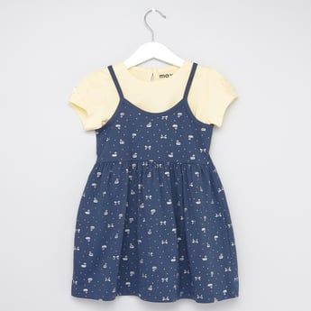 Swan Print Dress with Solid Round Neck T-shirt