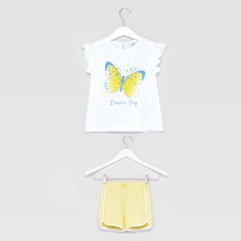 Printed Round Neck T-shirt with Striped Shorts