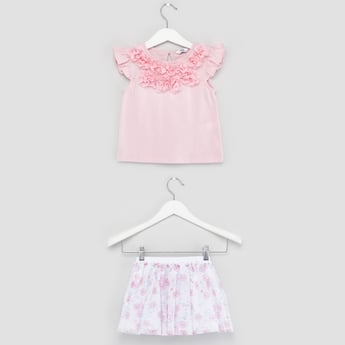 Flower Applique Top with Printed Mesh Skirt