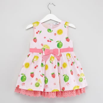Printed Sleeveless Dress with Schiffli Detail
