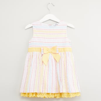 Striped Sleeveless Dress with Bow Applique