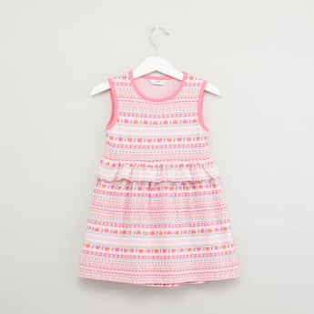 Printed Sleeveless Dress with Frill Detail