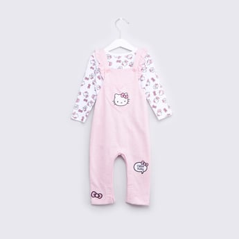 Hello Kitty Printed T-shirt and Dungarees Set