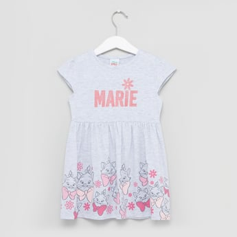 Marie Printed Dress with Cap Sleeves