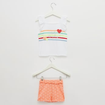 Printed Sleeveless Top with Shorts