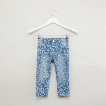 Printed Jeans with Pocket Detail