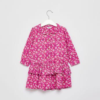 فستان متعدد الطبقات بطبعات زهور وأكمام طويلة