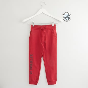 Full Length Typographic Print Jog Pants with Pocket Detail