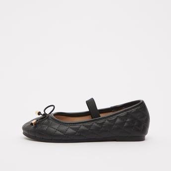 حذاء باليرينا مبطن بزخارف فيونكة وشريط مطاطي