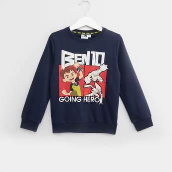 Ben 10 Printed Sweatshirt with Round Neck and Long Sleeves