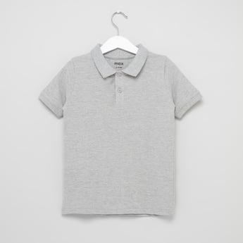 Solid Polo Neck T-shirt with Short Sleeves