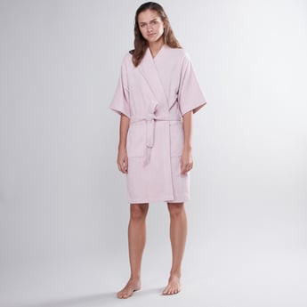 Textured Bathrobe with Short Sleeves and Tie Ups