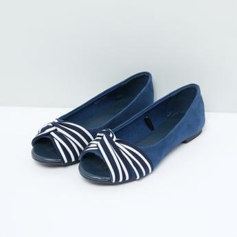 Striped Peep Toe Shoes