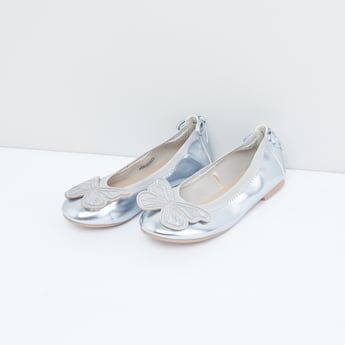 Slip-On Metallic Shoes with Applique Detail