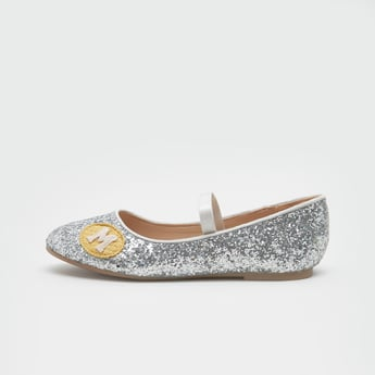 Glitter Accent Mary Jane Shoes with Applique Detail