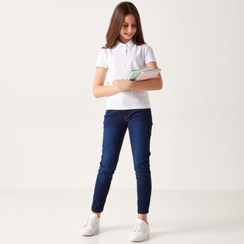 Solid Jeans with Pocket Detail and Belt Loops